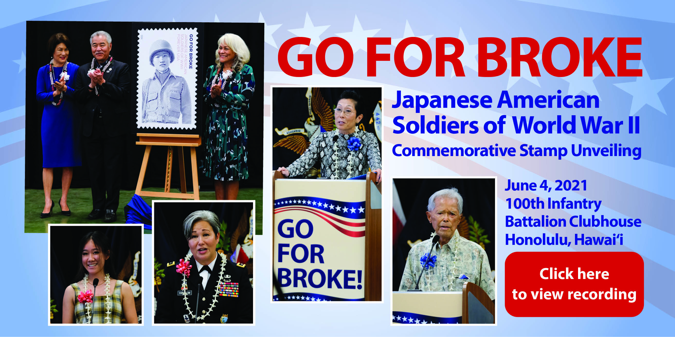 Banner image with link to Go For Broke: Japanese American Soldiers of World War II Commemorative Stamp Unveilingcontent