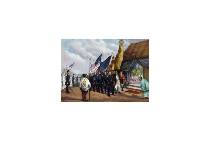Commodore Perry meets Japanese officials