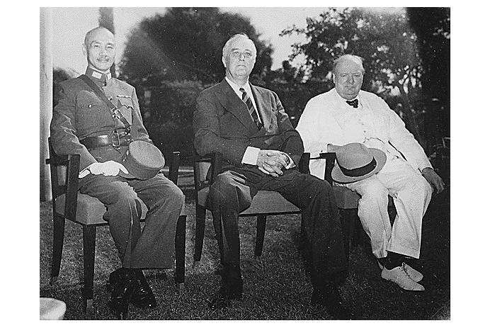 Chiang Kai-shek, Roosevelt, and Churchill at the Cairo Conference