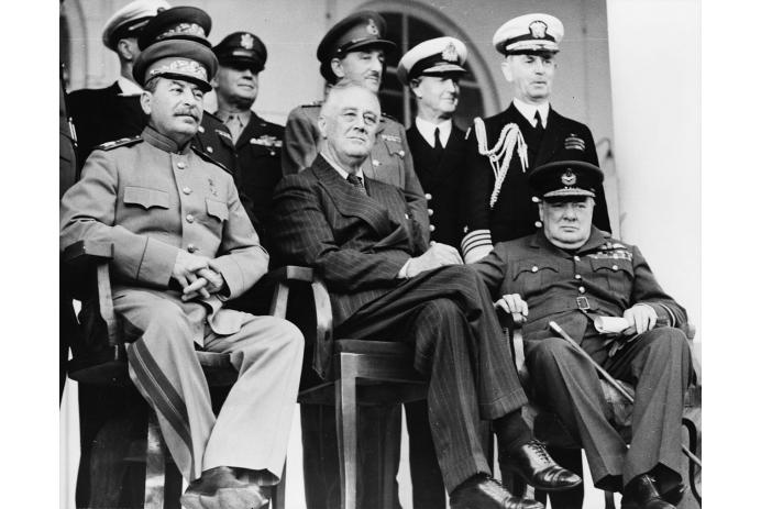 Stalin, Roosevelt, and Churchill at the Tehran Conference