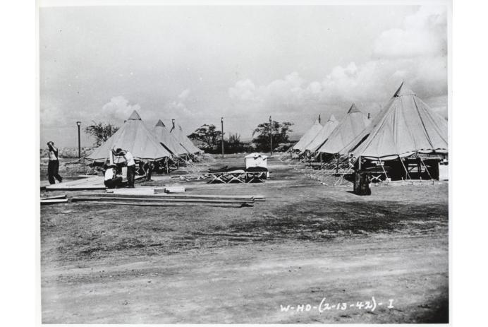 Sand Island detention camp under construction