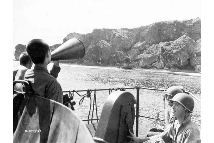 Calling for hiding soldiers to surrender after capture of Okinawa