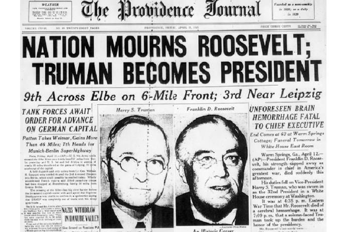 Roosevelt dies — succeeded by Truman