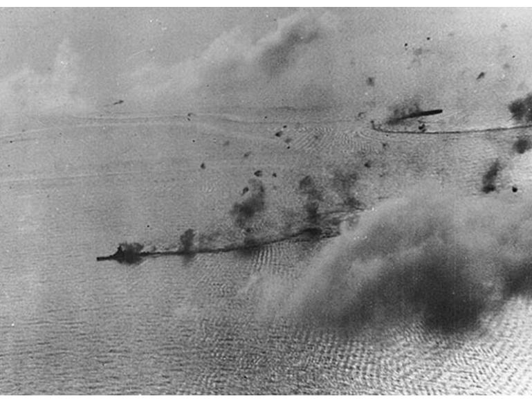 Japanese battle fleet under attack