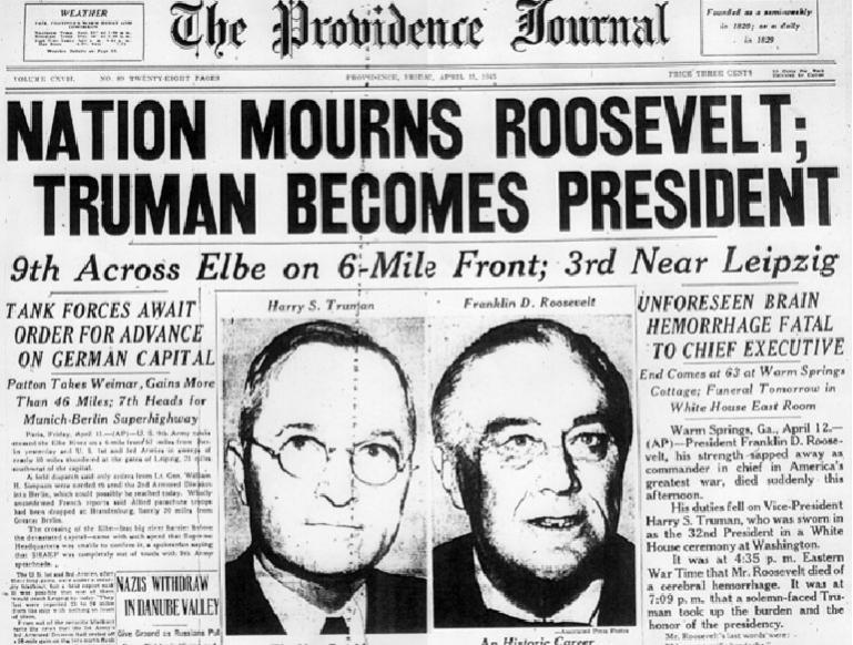 Roosevelt dies - succeeded by Truman